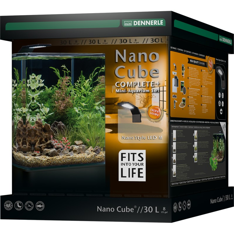 Dennerle nano cube 30l complete plus style led aquarium set for Aquarium nano cube