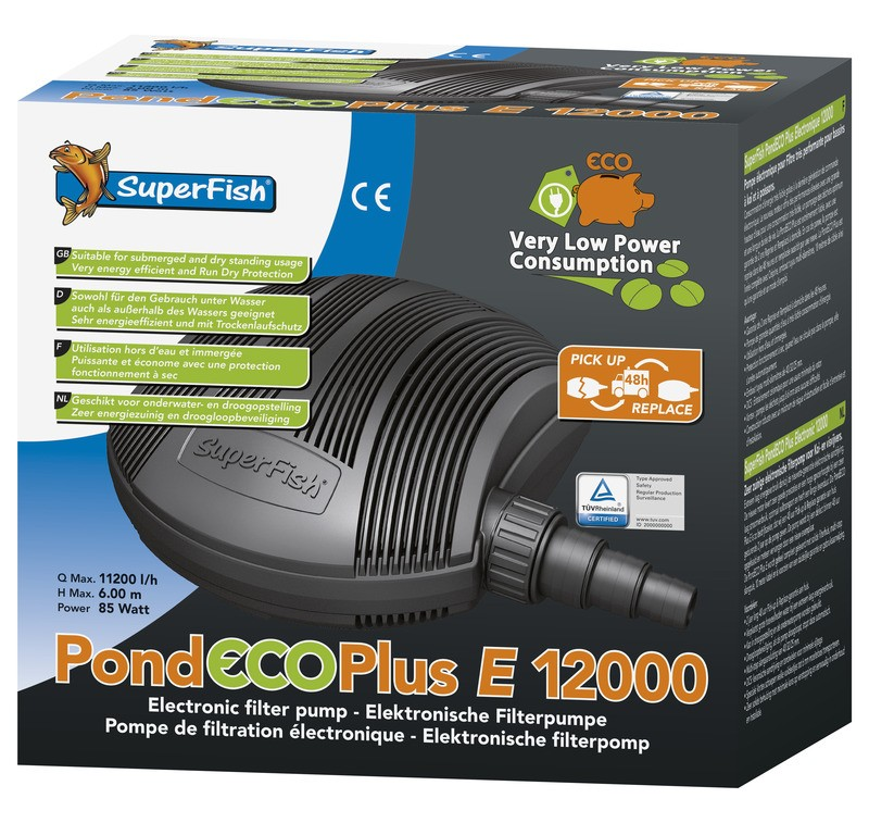 SuperFish Pond ECO Plus E 12.000 Elektronische Filterpumpe 85W